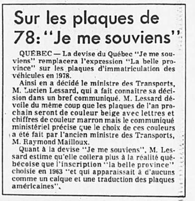 Devise sur plaques-Presse 16-12-1976